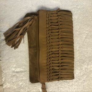 ALDO brown large clutch with tassels